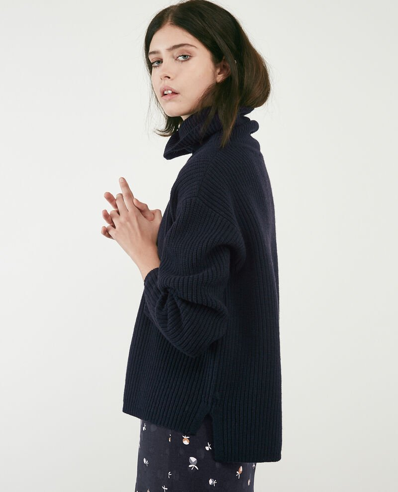 100% wool roll neck jumper Navy Dacheville