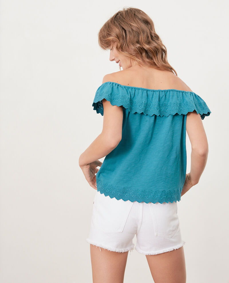Top with elasticated and embroidered frill Pacific green Ficaja