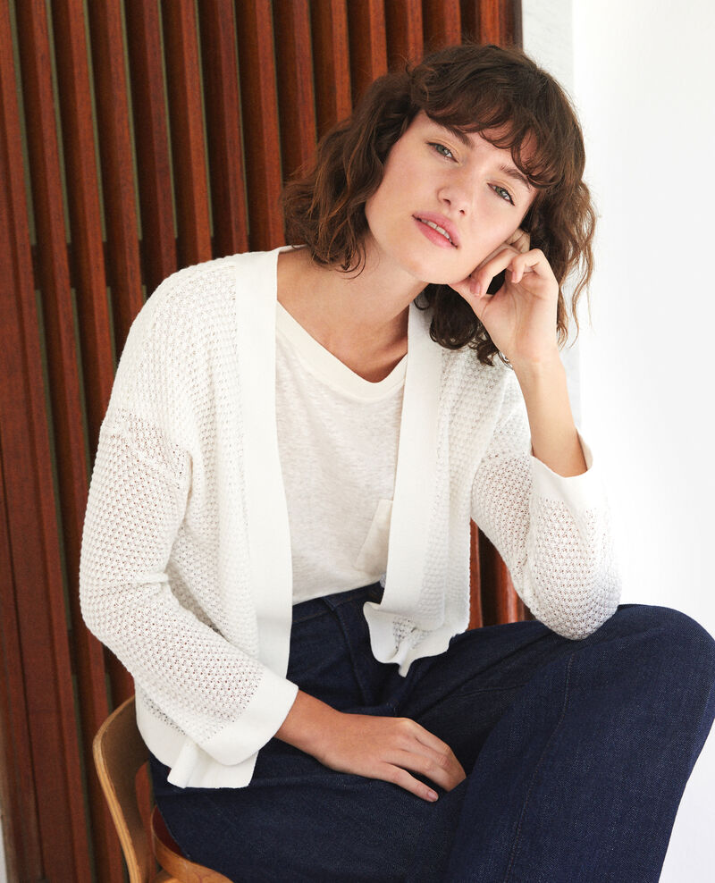 Open-knit cardigan OFF WHITE