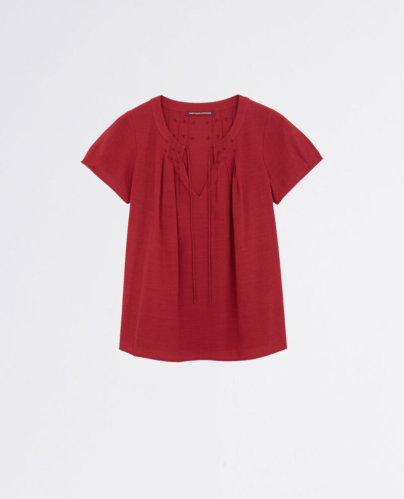 Frilly blouse with embroidery details Raspberry Celcius