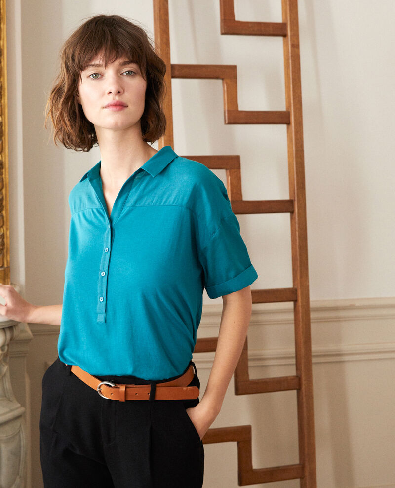 Bimaterial shirt HARBOR BLUE