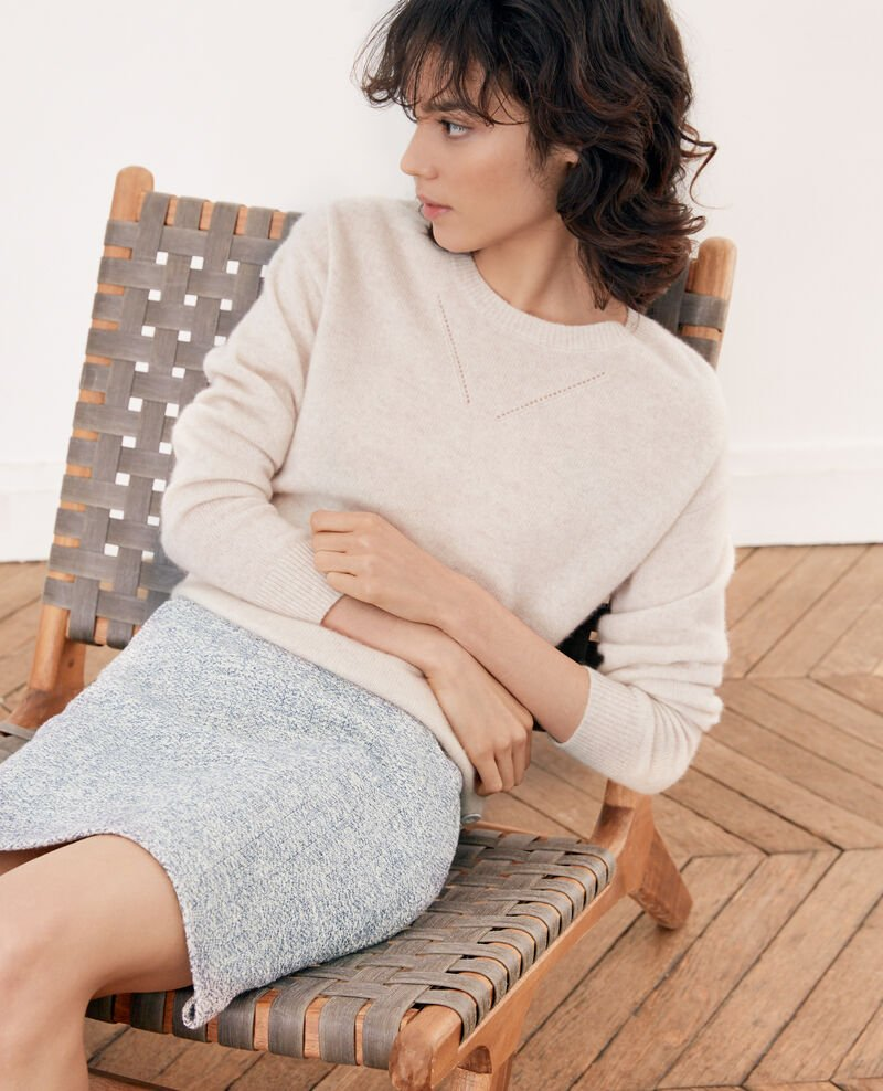 Tweed-style skirt INDIGO/OFF WHITE