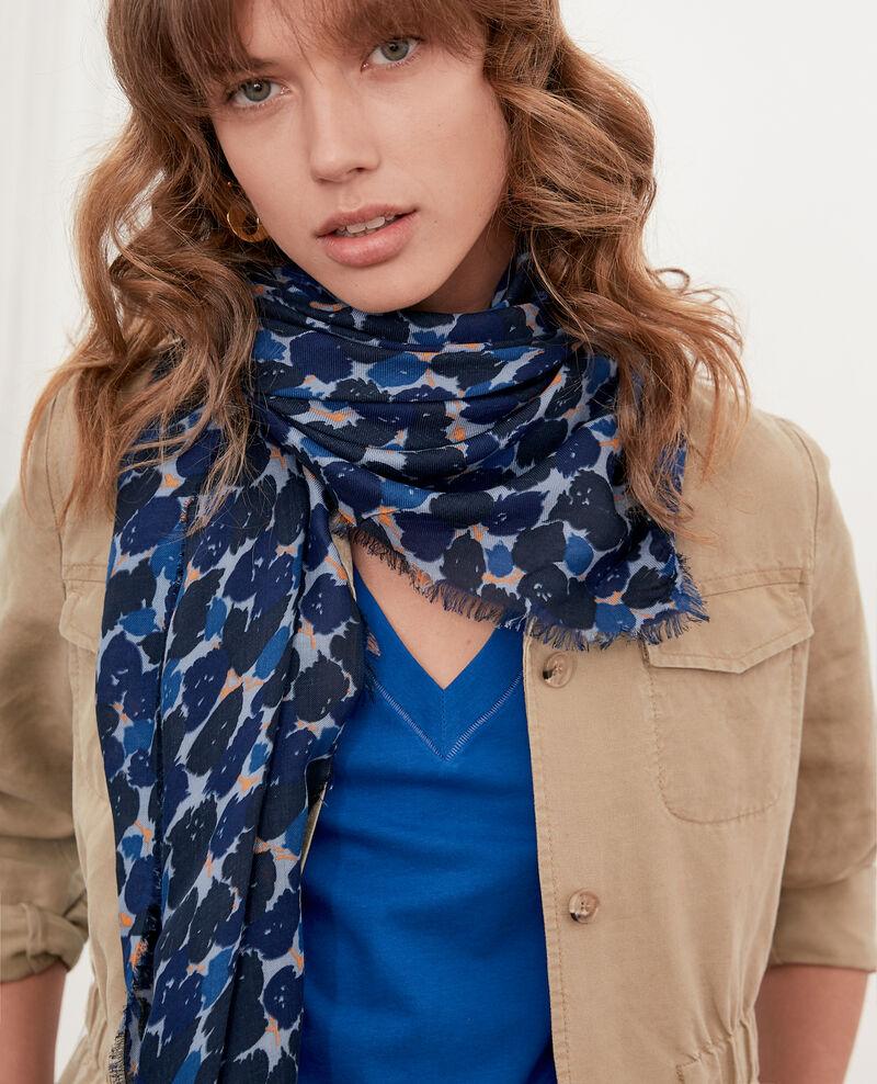 Printed scarf Blossom shadow indigo Flisse