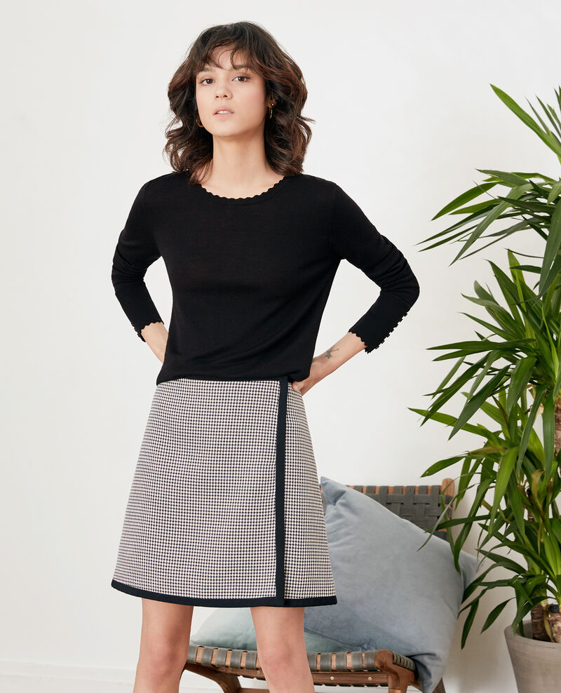 Houndstooth jacquard skirt Red Feru