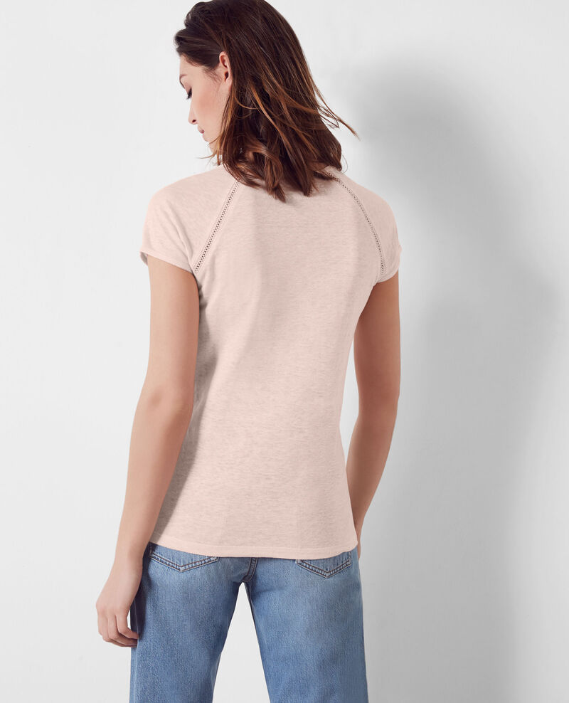 Linen t-shirt Misty rose Caramel