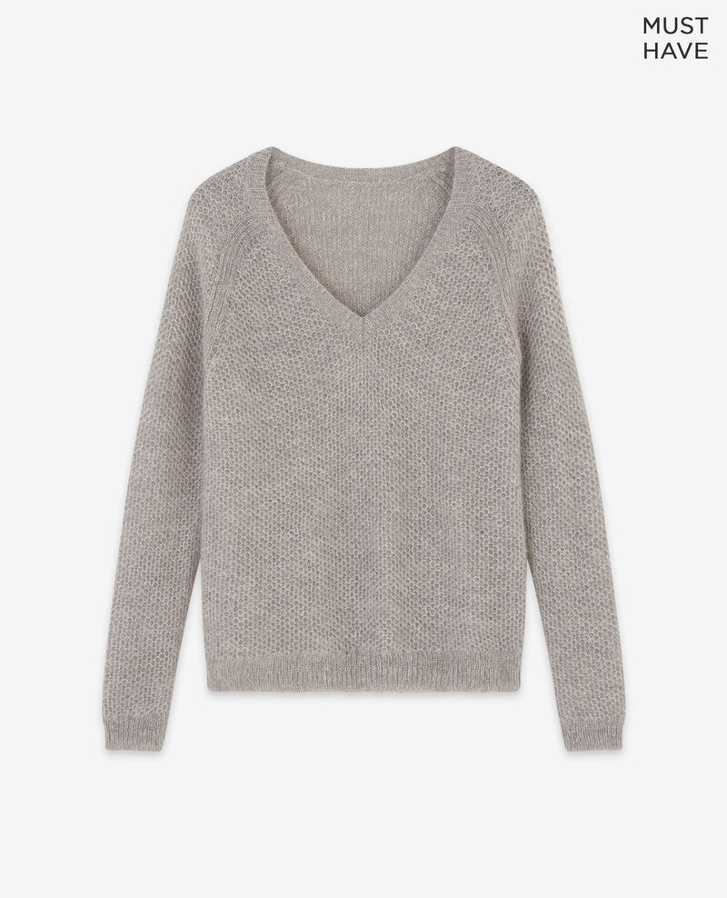 Mohair jumper Light grey/off white Dahbia