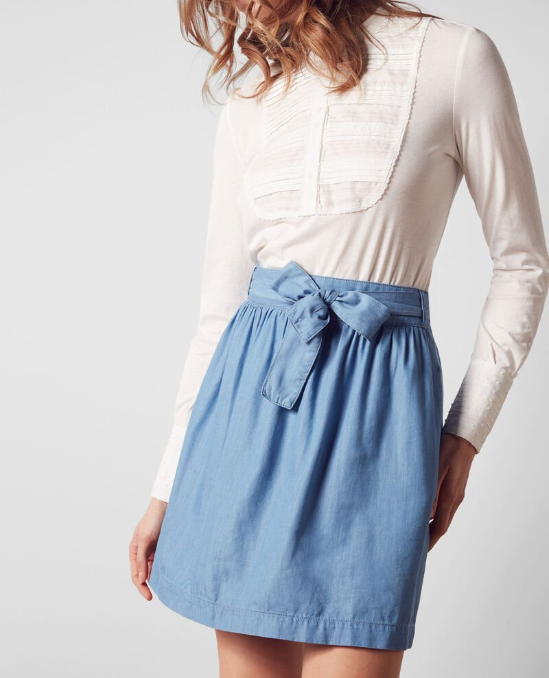 Loose skirt in Tencel denim Indigo Chimene