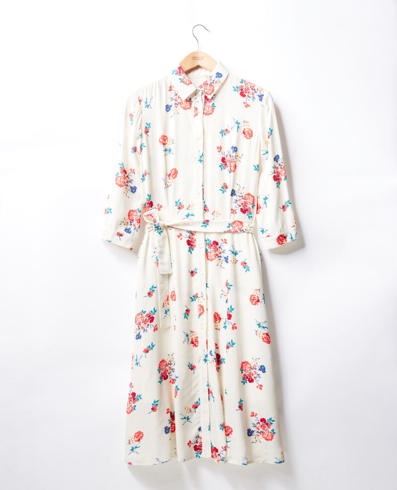 Mid-length dress FLEURS OFF WHITE