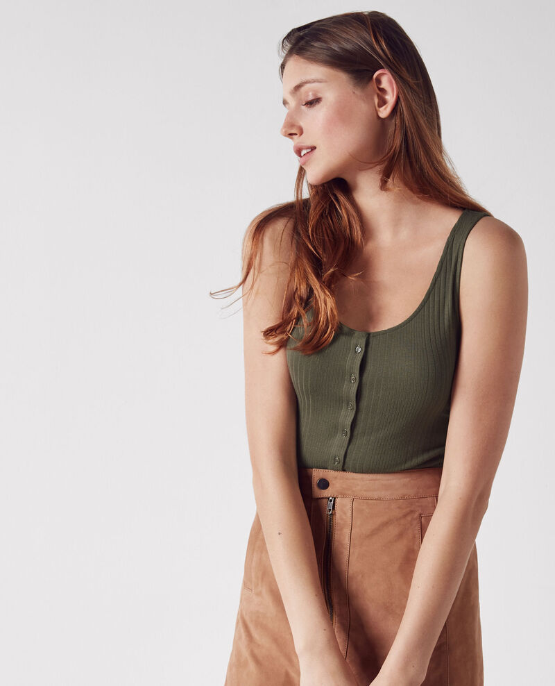 Ribbed, buttoned vest top  Army Cedre