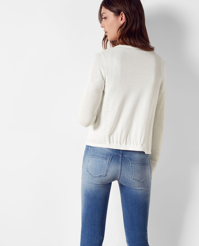 Short linen open cardigan Off white Colchic