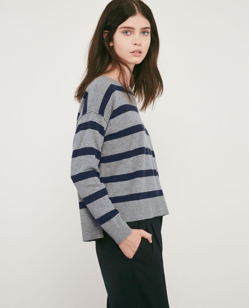 100% cashmere striped jumper Medium heather grey/navy Delamer
