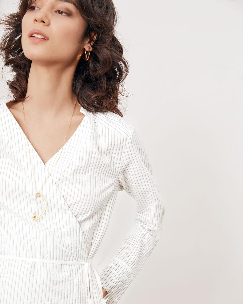 Striped wrapover dress Off white/navy stripes Fading