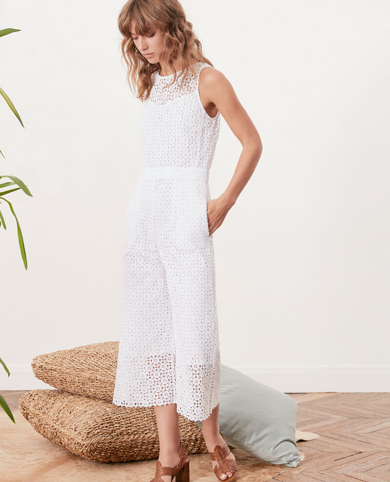 Broderie anglaise jumpsuit Blanc Fijon