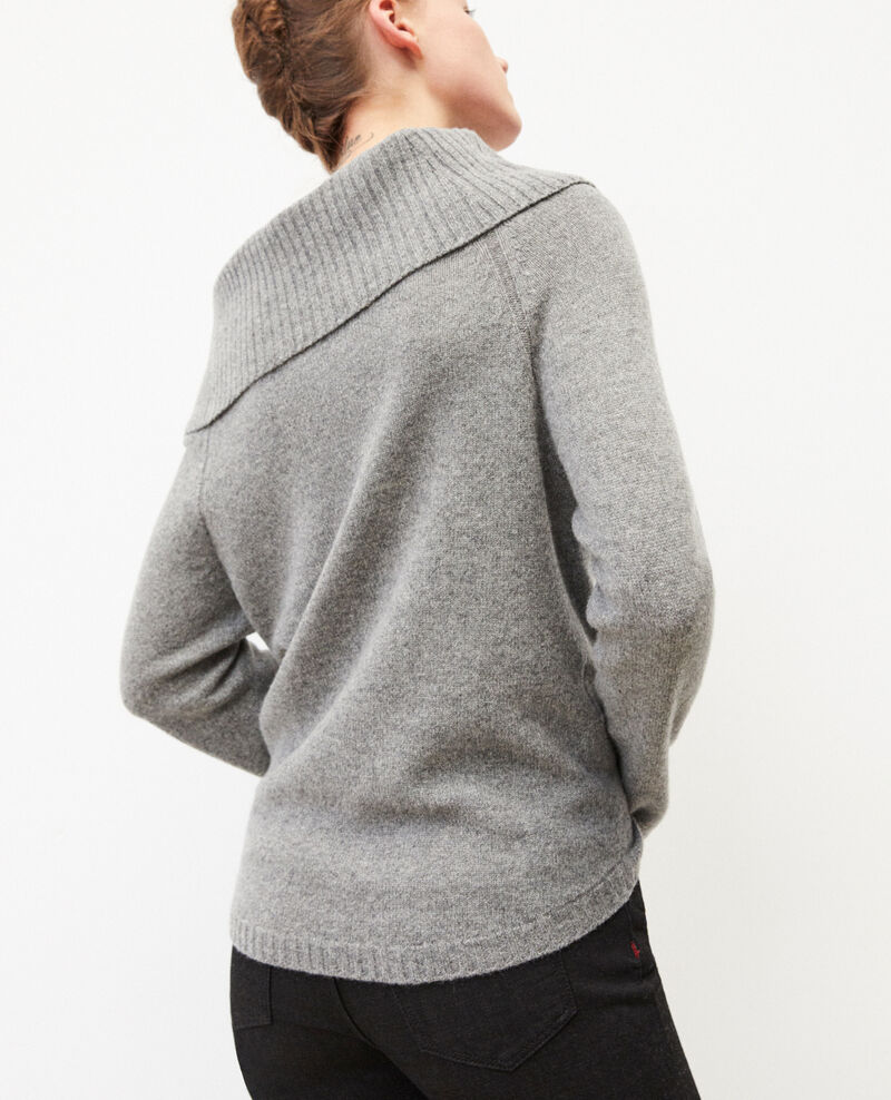 Jumper with cable stitch details Medium heather grey Girma