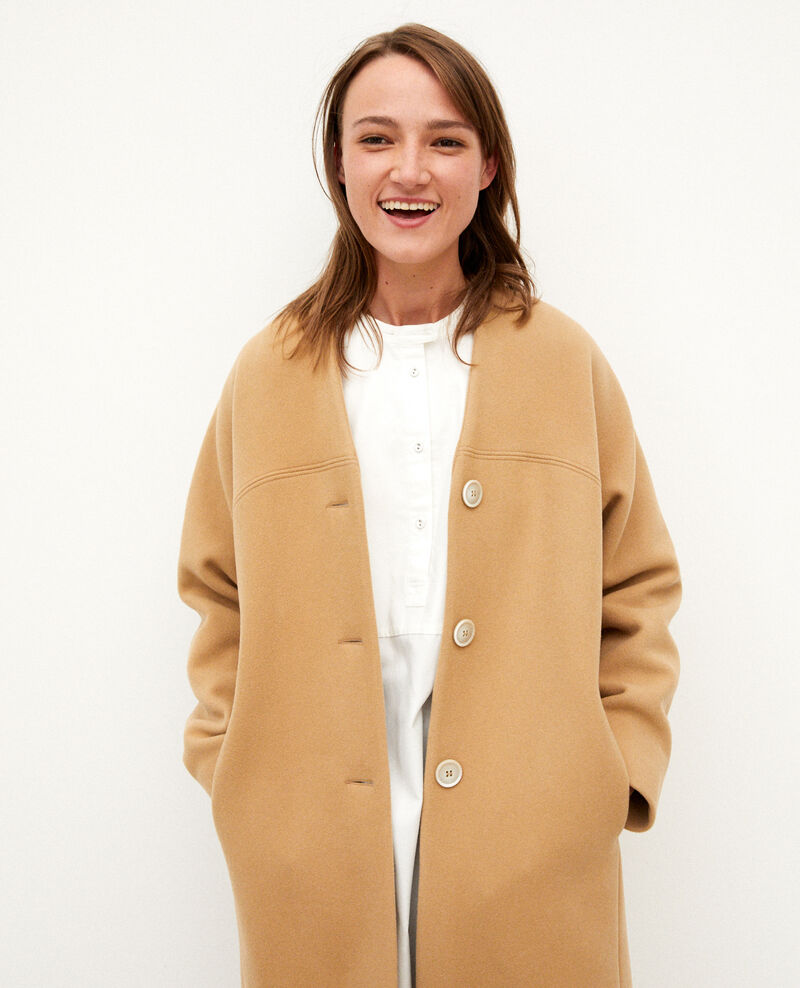 Collarless coat TANNIN