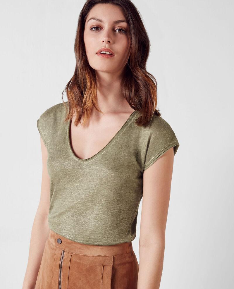 Iridescent linen t-shirt Veronese Citron
