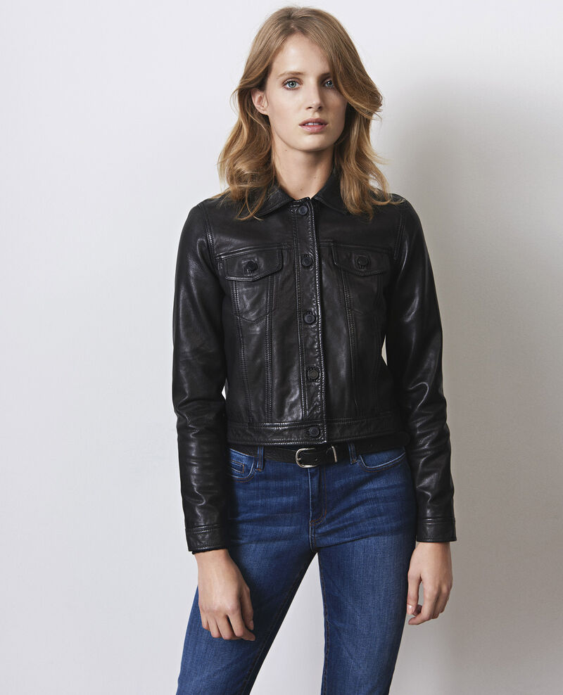 Short leather jacket, denim jacket style Noir Cablo