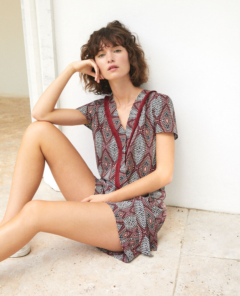 Wrap-over playsuit IKAT AUBURN