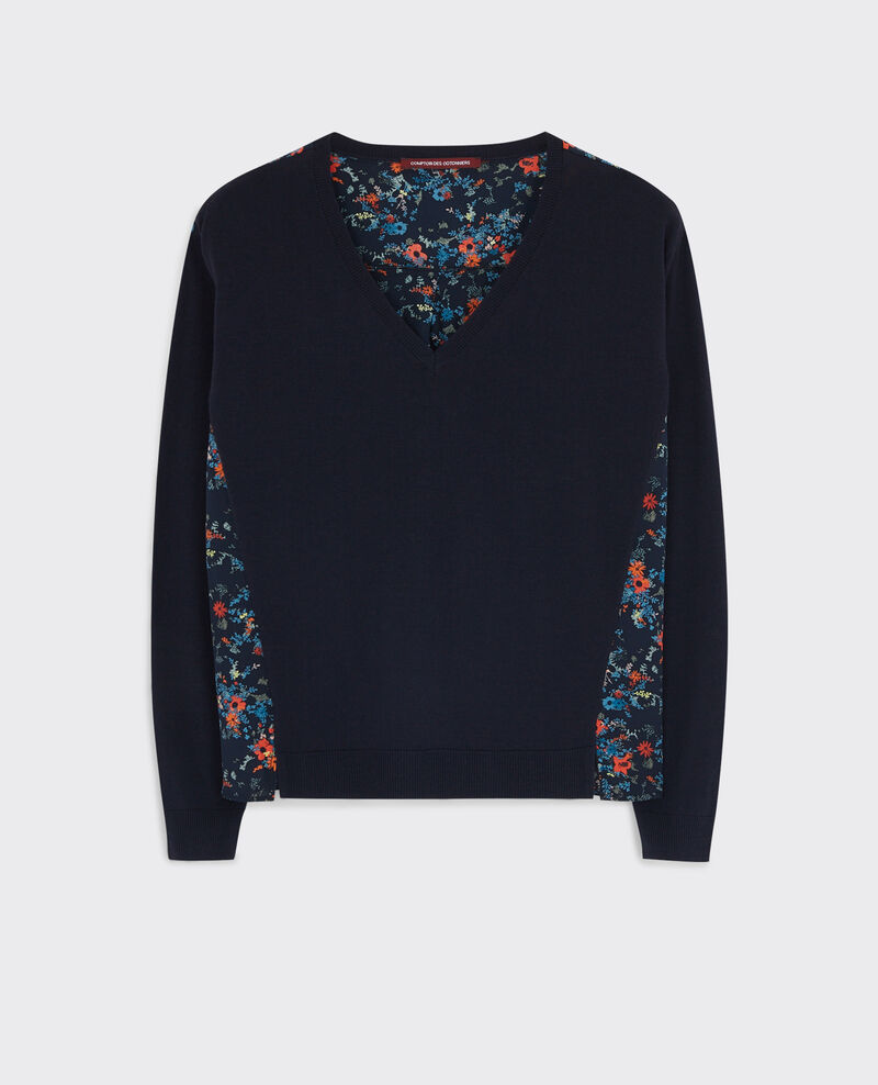 Dual-fabric jumper in wool with a printed silk back Dark ocean Condor