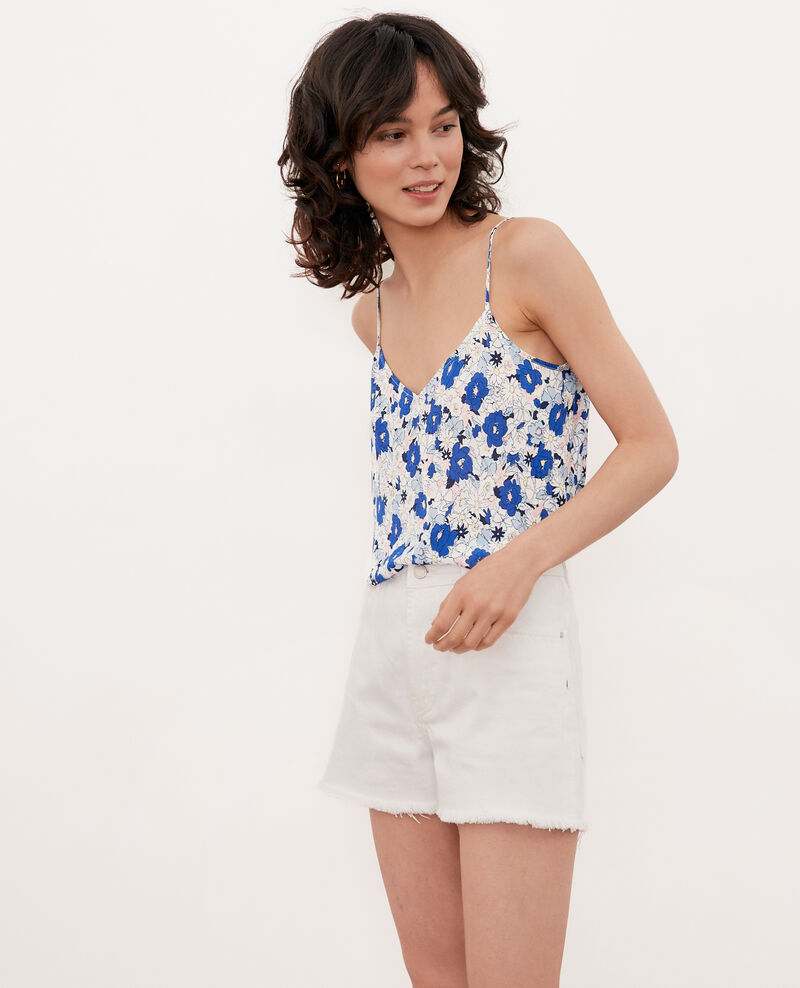 Silk cami SUMMER BLOOM ULTRA MARINE