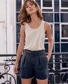 Linen blend shorts Navy Ficaire