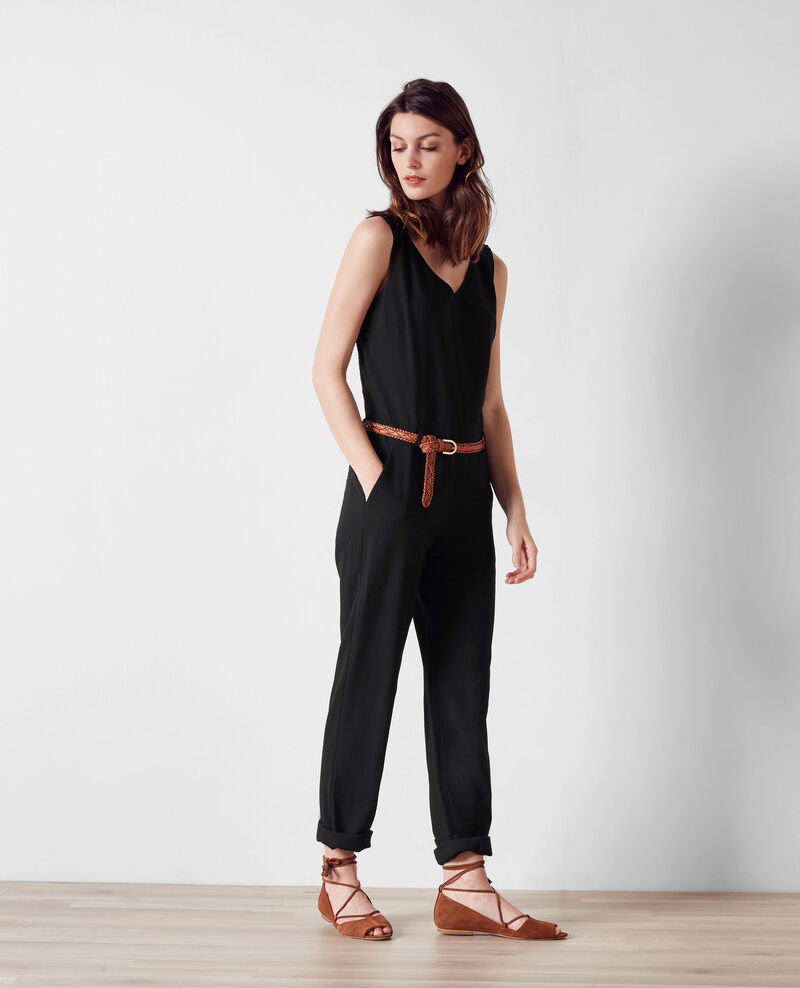 Jumpsuit with guipure lace back Noir Carole