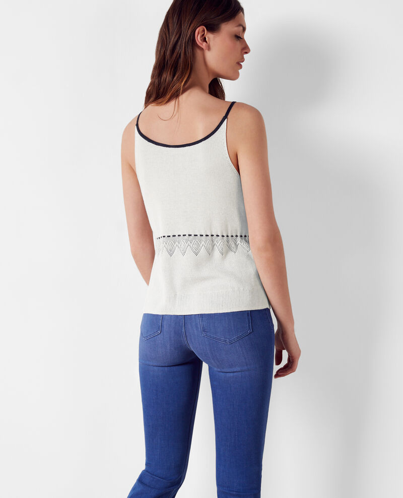 Fine-ribbed linen and cotton tank top White/midnight Crackers