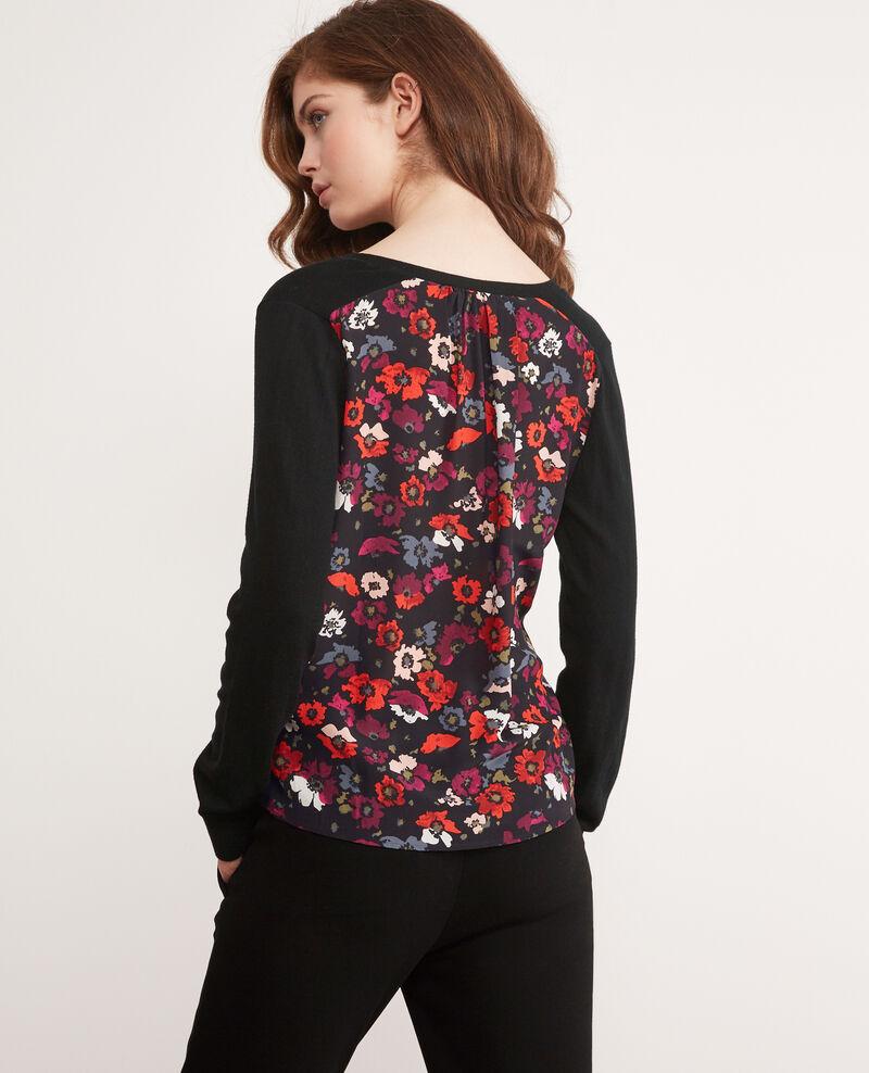 Bi-material jumper with a printed silk back Poppies black Decibel