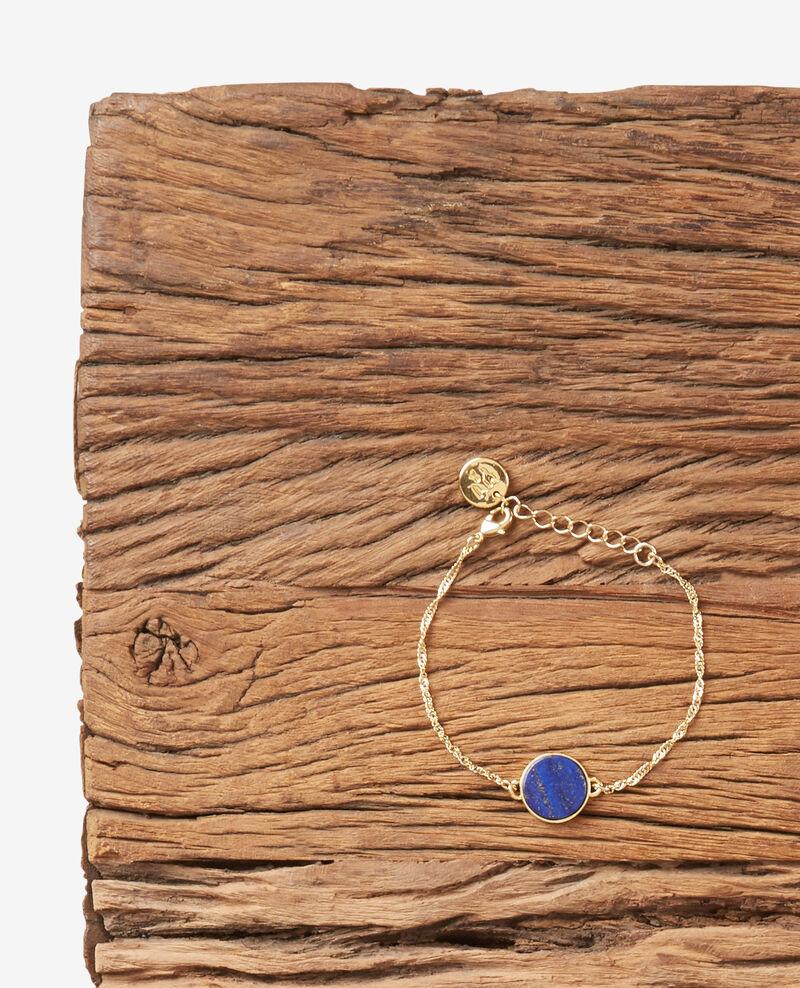 Bracelet with round lapis lazuli pendant Gold/sapphire Dubracelet