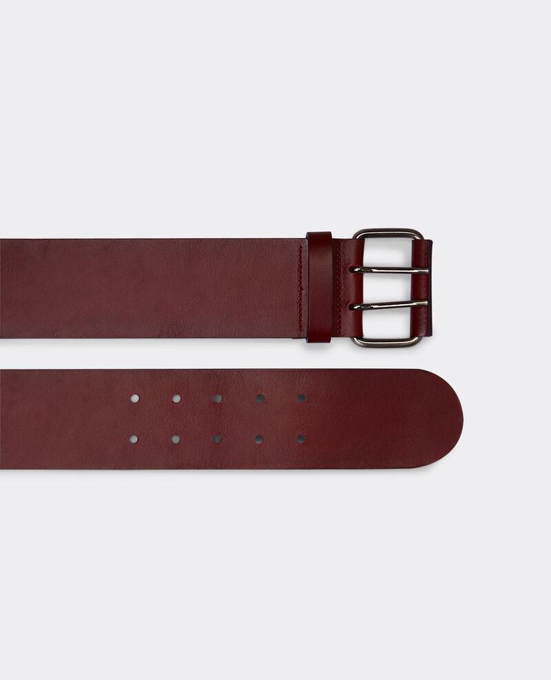 Wide leather belt Maroon Bambin