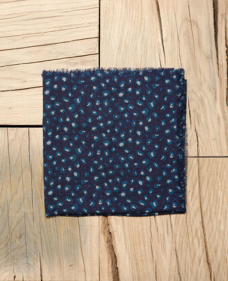 Printed wool scarf Blue leopard peacoat Grae
