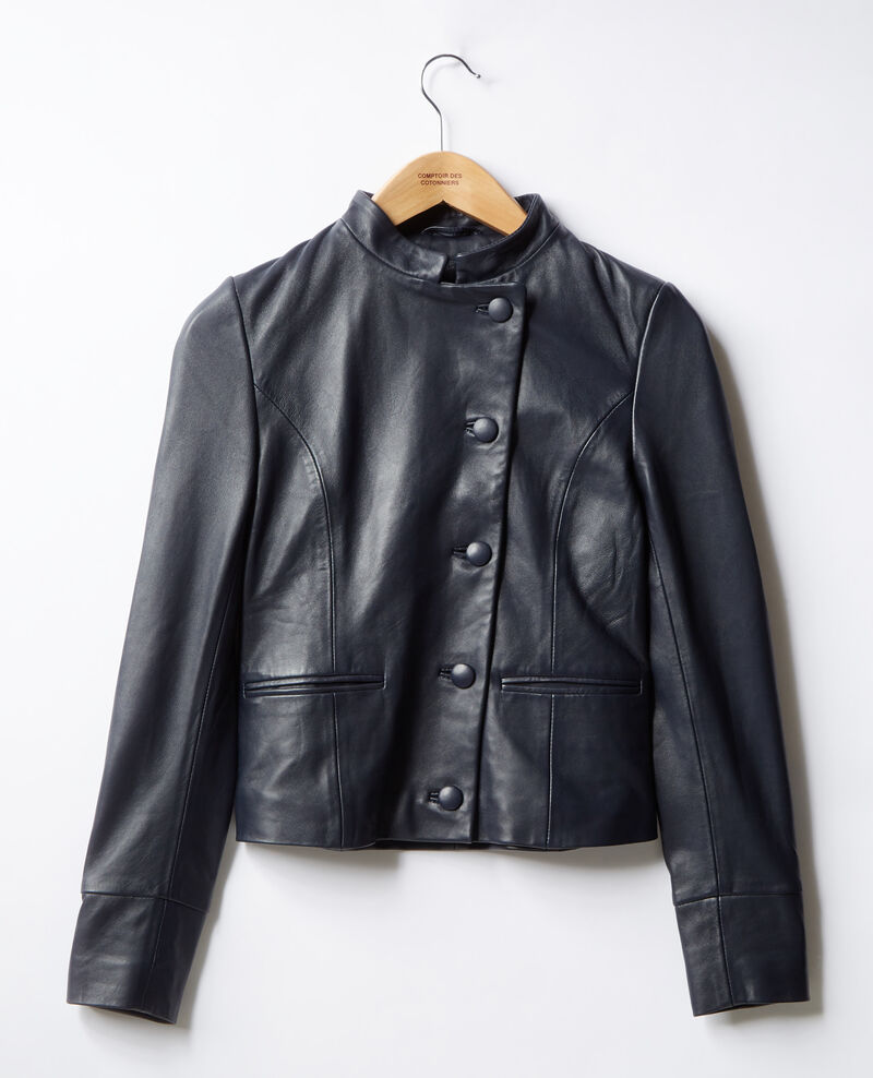 Leather jacket Navy Fibou