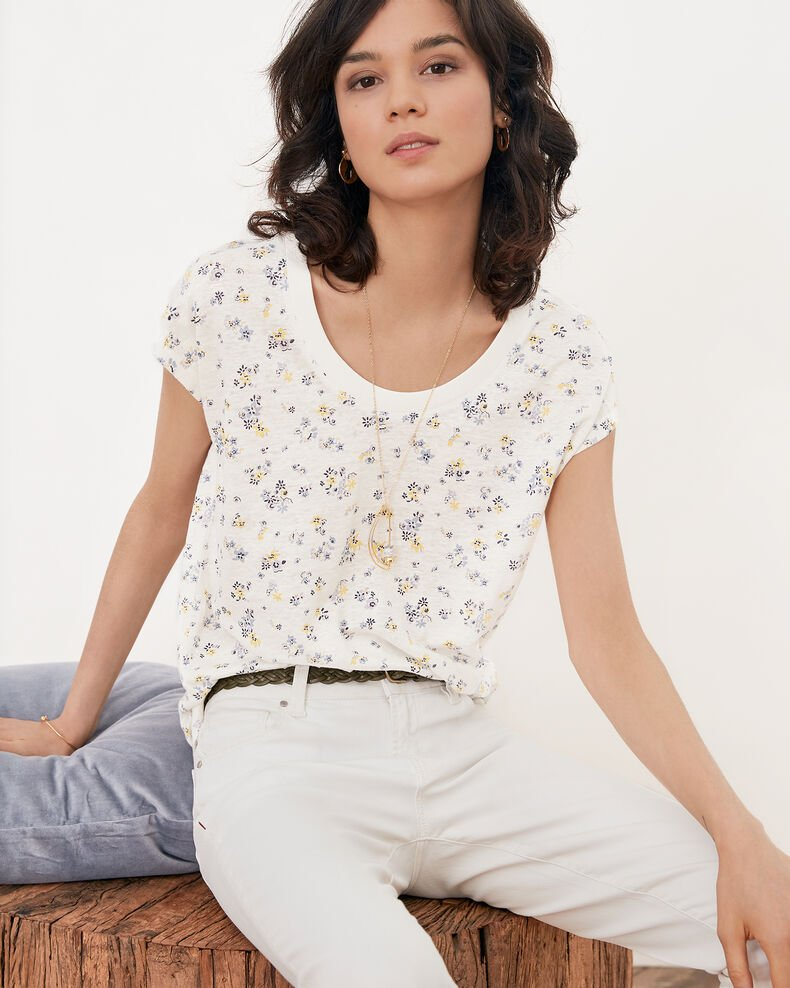 Floral print T-shirt LILLYBELL KAOLIN
