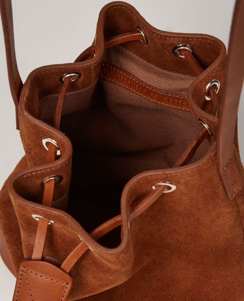 Small suede leather duffel bag Platane Calin