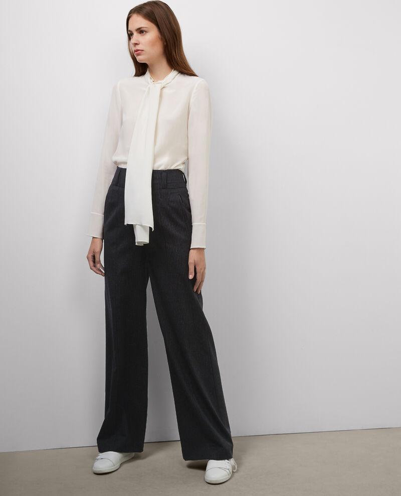 Striped wool trousers Dark heather grey Babrico