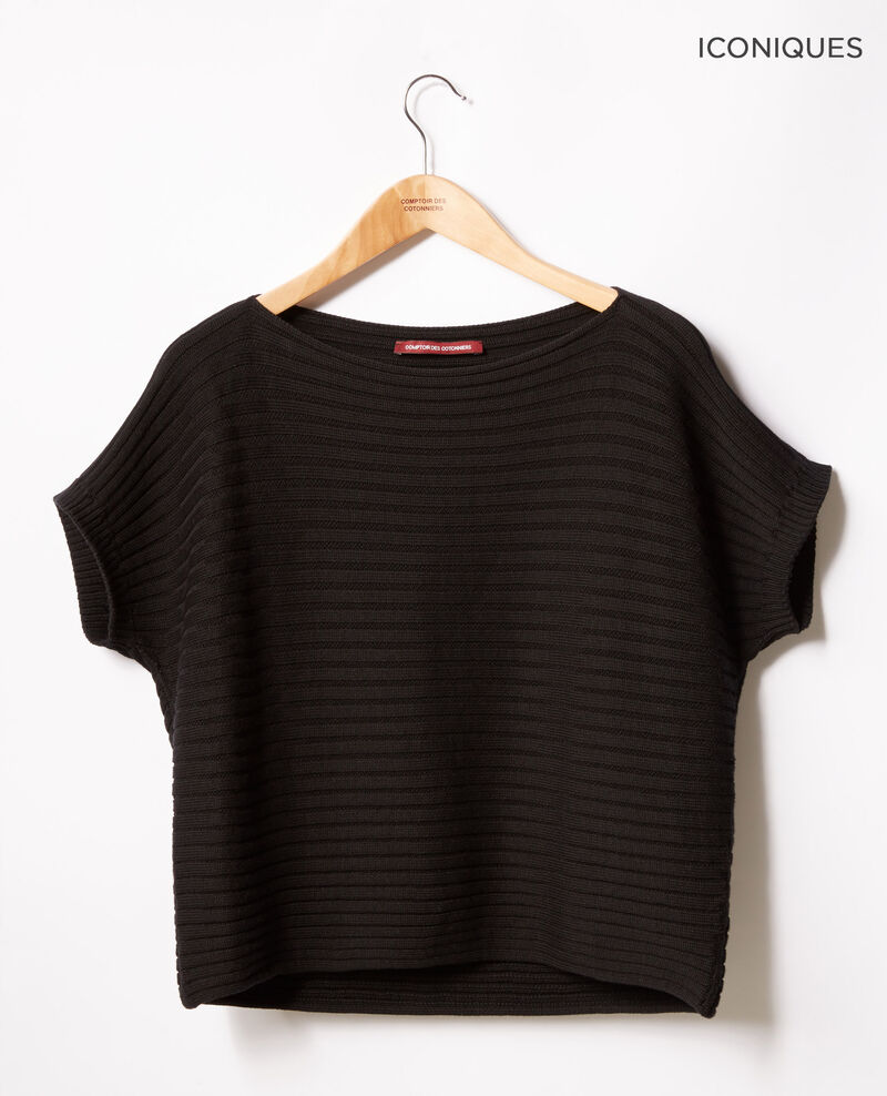 Short-sleeved seamless ribbed knit jumper NOIR