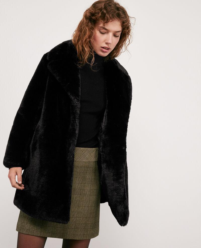 faux fur coat noir dotonnier comptoir des cotonniers