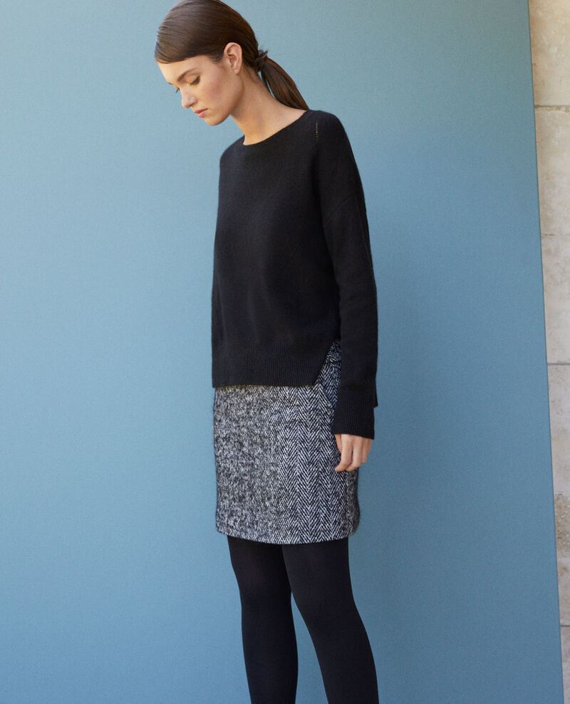 Herringbone mini skirt Noir/off white Gwinog