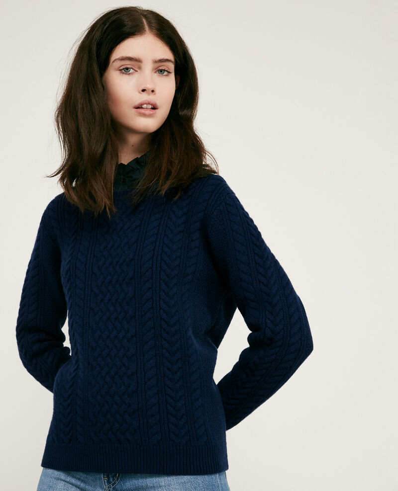 100% wool cable knit jumper Light navy Dodger