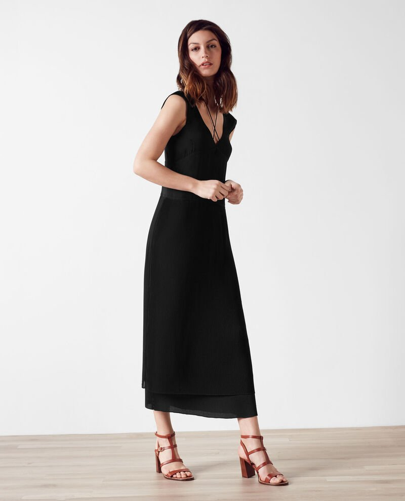 Long dress with frill and pleat detail Noir Caoki