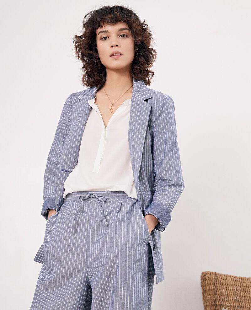Soft shirt-style jacket Indigo stripe Feuillage