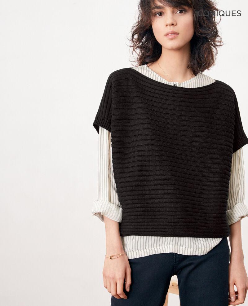 Short-sleeved seamless ribbed knit jumper NOIR