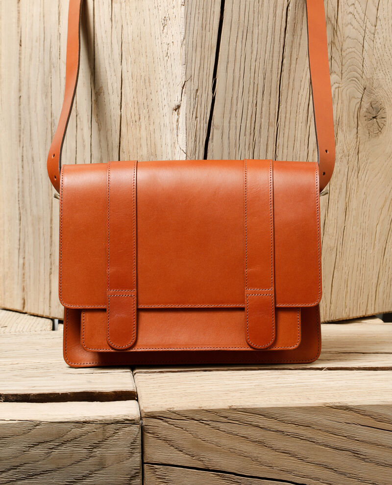 Smooth leather bag, large model CAMEL