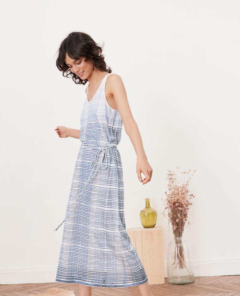Linen mid-length dress Tie&dye washed blue Fieto