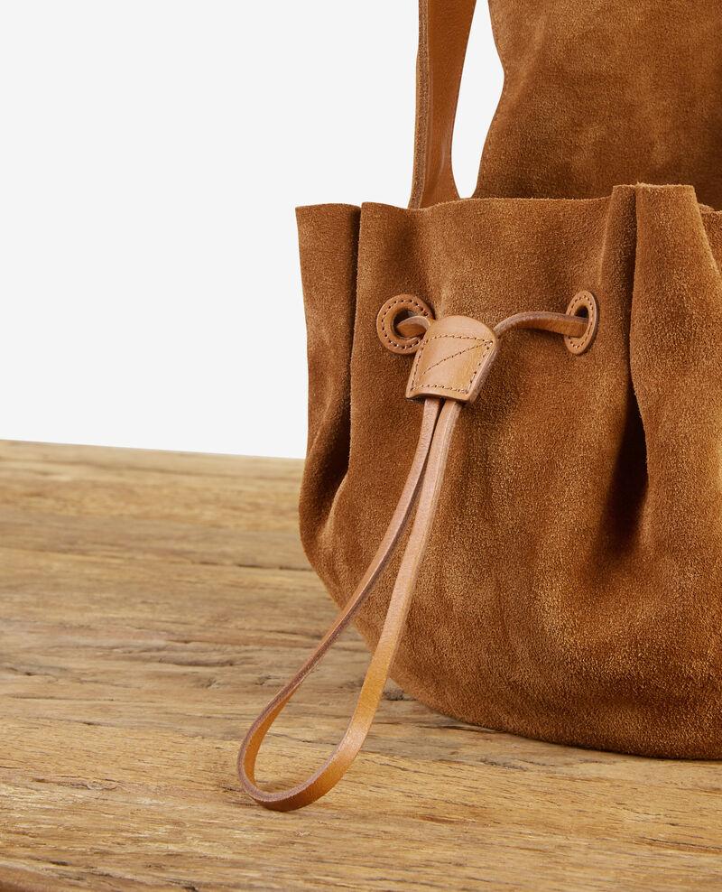 Leather blend saddle bag Cognac Dedans