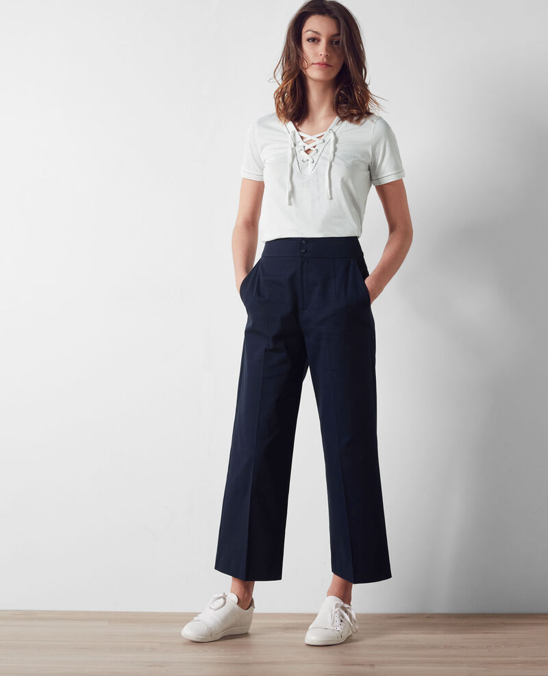 Loose fit cropped trousers Midnight blue Calcium