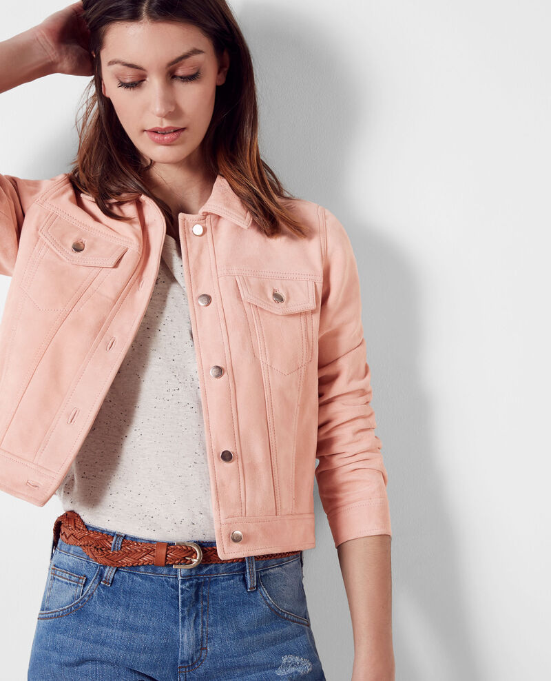 Short suede jacket in the style of a denim jacket Peach 9cablodaim