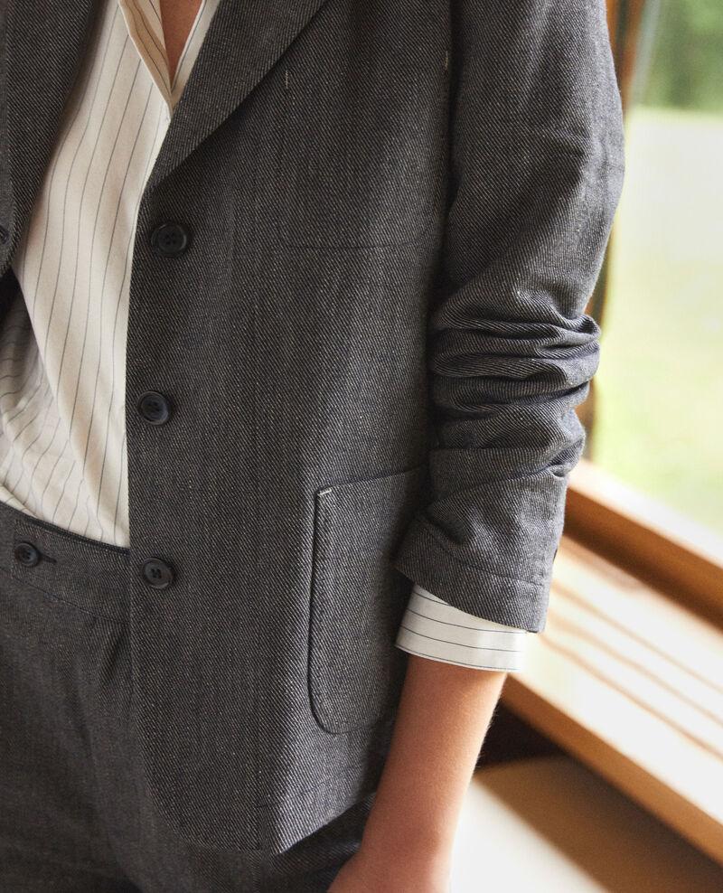 Linen and wool blazer Medieval blue Guibert