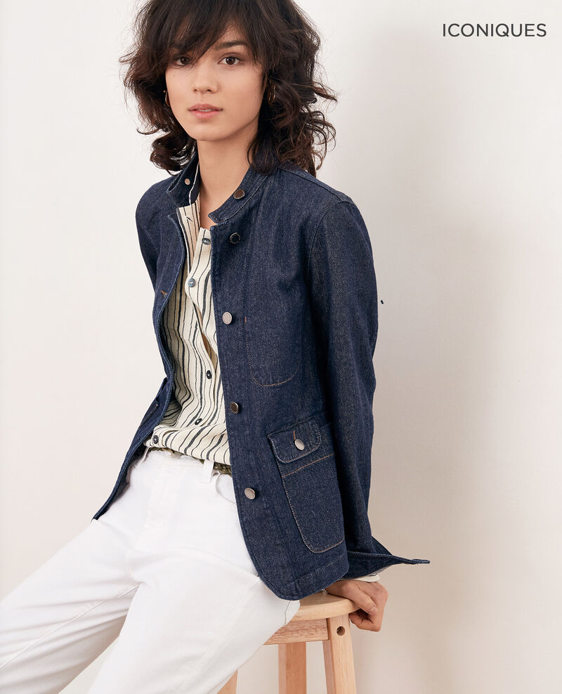 Denim jacket with stand-up collar Indigo Facajou
