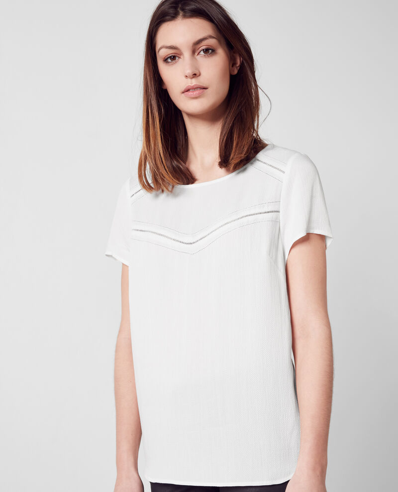 Fabric blend top with frilly sleeves Off white 9bunisaique